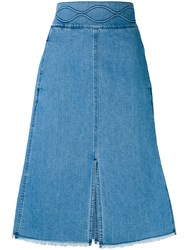 See By Chloe Denim A Line Midi Skirt Women Cotton 38 Blue