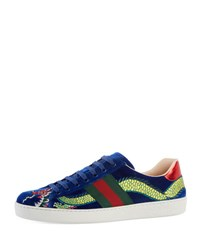 Gucci New Ace Embroidered Velvet Low Top Sneaker Blue Blue Pattern