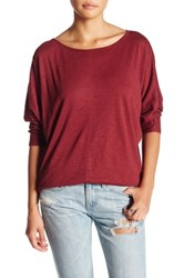 Harlowe And Graham Long Sleeve Seam Detail Knit Dolman Top Red