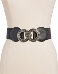 Fashion Focus Rope Buckle Stretch Belt Black Silver