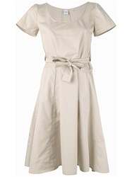 Aspesi Front Bow Dress Women Cotton 38 Nude Neutrals