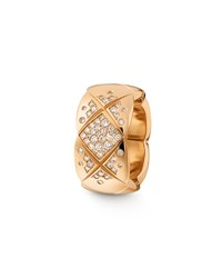 Chanel Coco Crush Ring In 18K Beige Gold And Diamonds Medium Version.