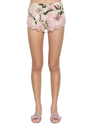Dolce And Gabbana Stretch Lace Charmeuse Shorts Array 0X57c8f60