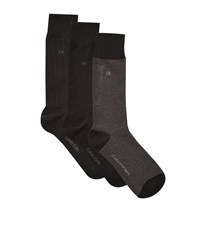 Calvin Klein Birdseye Crew Knit Socks 3 Pack Male Black