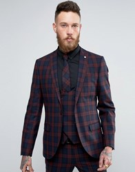 Noose And Monkey Super Skinny Suit Jacket In Check Burgundy Red