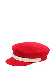 Coliac Jaran Embellished Suede Hat Red