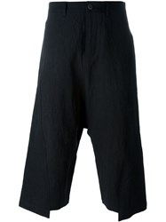 Individual Sentiments Drop Crotch Cropped Trousers Black
