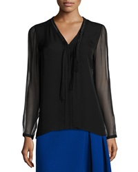 Elie Tahari Emmy Long Sleeve Tie Neck Blouse Black