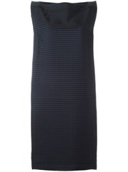 Roberto Capucci 'Damier' Boat Collar Dress Blue