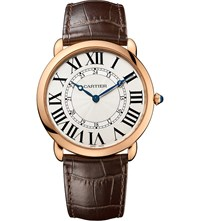 Cartier Ronde Louis 18Ct Pink Gold And Leather Watch