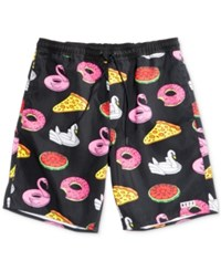 Neff Men's Pool Party Graphic Print Hot Tub Shorts Black