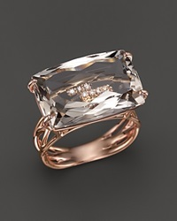 Vianna Brasil 18K Rose Gold Ring With Murion Quartz And Diamond Accents Brown Rose