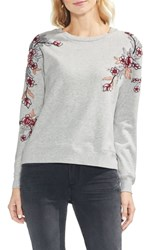 Vince Camuto French Terry Embroidered Sweatshirt Grey Heather