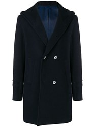Daniele Alessandrini Hooded Double Breasted Coat Blue
