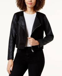 Lucky Brand Faux Leather Contrast Moto Jacket Lucky