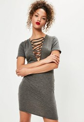 Missguided Grey Short Sleeve Lace Up Front Bodycon Dress