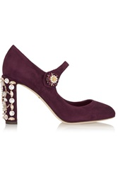 Dolce And Gabbana Crystal Embellished Suede Mary Jane Pumps