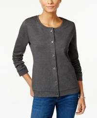 Karen Scott Long Sleeve Cardigan Only At Macy's Charcoal Heather