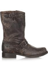 Frye Veronica Distressed Boots Dark Brown