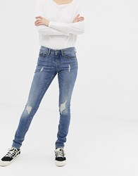 Blend She Nova Jappa Destroyed Skinny Jeans Medium Vintage Blue