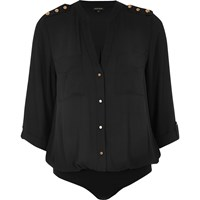 River Island Womens Black Military Blouse Bodysuit
