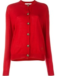 Moschino Vintage Button Cardigan Red