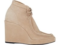 Balenciaga Women's Suede Wedge Ankle Boots Tan