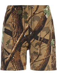 Neighborhood Forest Print Track Shorts Brown