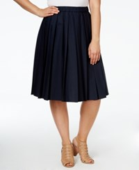 Michael Michael Kors Plus Size Pleated A Line Skirt Navy