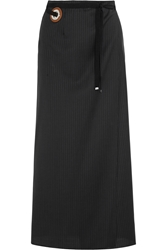 Maison Martin Margiela Pinstriped Wool Maxi Skirt