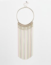 Lipsy Coloured Chain Tassel Collar Necklace Rosegold