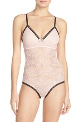 Women's Betsey Johnson 'Retro' Lace Bodysuit Cotton Candy