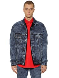Balenciaga Washed Denim Jacket W Faux Fur Lining Blue
