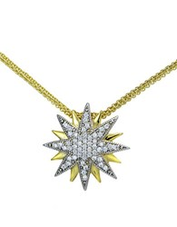 Lord And Taylor Two Tone Cubic Zirconia Sterling Silver Starburst Pendant Necklace