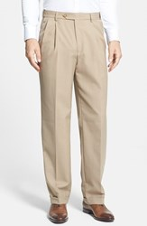 Men's Big And Tall Berle Self Sizer Waist Pleated Trousers Tan