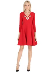 Stefano De Lellis Embellished V Neck Flared Crepe Dress