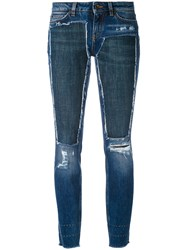 Dolce And Gabbana Deconstructed Skinny Jeans Women Silk Cotton Calf Leather Glass 38 Blue