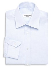 Yves Saint Laurent Zig Zag Cotton Dress Shirt White Light Blue