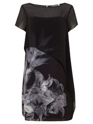 Mint Velvet Hayley Print Cape Dress Black