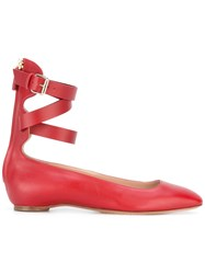 Valentino Garavani Plum Ballerinas Women Calf Leather Leather 39.5 Red