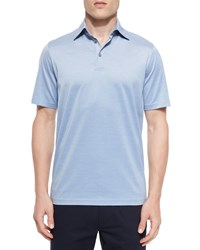 Ermenegildo Zegna Cotton Silk Polo Shirt Blue