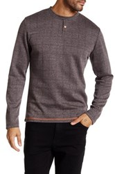 Smash Long Sleeve Herringbone Knit Shirt Brown