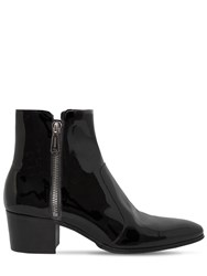 Balmain 55Mm Zip Patent Leather Ankle Boots Black