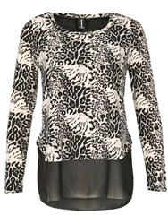 Izabel London Layered Leopard Print Top Black