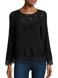 Generation Love Rosa Lace Silk Peplum Top Black