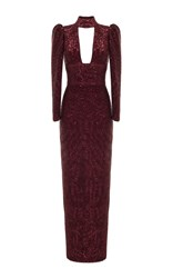 Rasario Cut Out Front Lurex Dress Burgundy