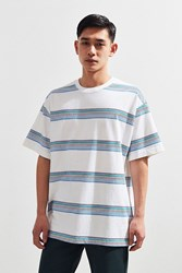Urban Outfitters Uo Dillon Open Variegated Stripe Tee White