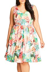 City Chic Plus Size Women's Floral Print Fit And Flare Dress