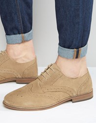 Asos Brogue Shoes In Stone Suede With Natural Sole Stone