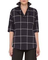 Akris Punto Windowpane 3 4 Sleeve Tunic Black Cream Black Crea